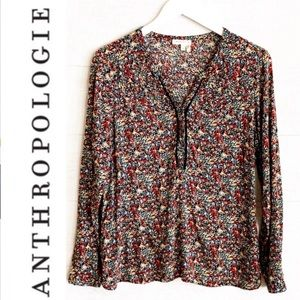 Anthropologie Meadow Rue Floral Popover Blouse M
